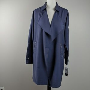 Sebby Draped Open Front Trench Coat Blue Sz M L XL